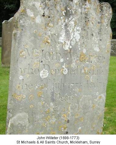 John Willeter 1698 grave